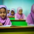 blur children class classroom close-up culture education focus group headscarf hijab indoors kids learning people reading religion school students study studying tables traditional young