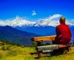blue sky Buddhism dawn grass hike landscape meditation monk mountain peak mountains nature outdoors people person relax scenic travel trees view wooden bench wooden table
